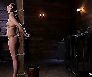 Hairy brunette slave gets stick on heels 5 min HD