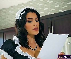 Busty brunette maid Valentina Nappi double penetrated