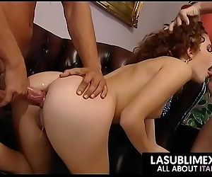 Redhead fucked by two guys! threesome anal