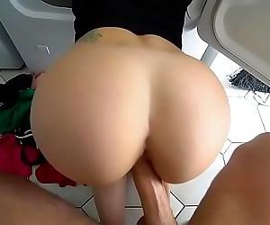 Stepsister surprised from behind gets fucked by brother 7 min