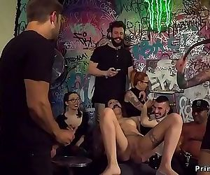 Slave gets group facial in public 5 min HD